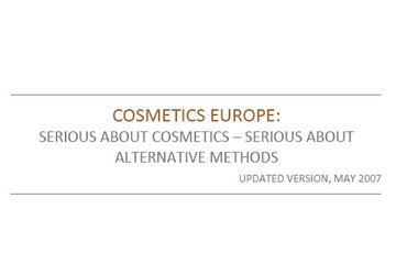 Serious about Cosmetics - Serious about Alternative Methods_Updated version, May 2007